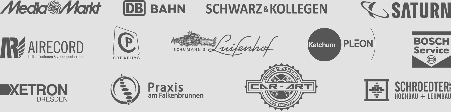 Mediamarkt, Saturn, Bosch, Airecord, Xetron, Car-Art, Creaphys, sim4tec, Luisenhof, Schwarz & Kollegen
