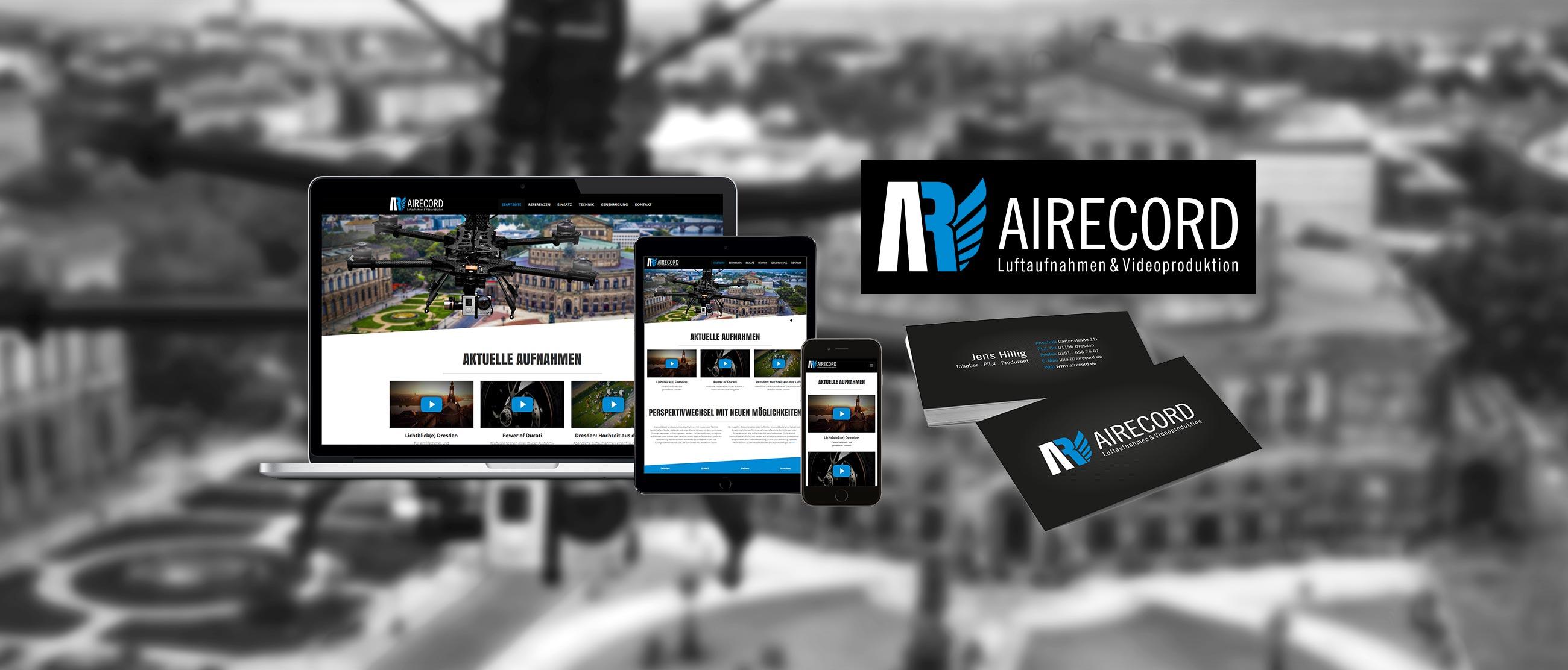 AIRECORD – Luftaufnahmen & Videoproduktion: Erstellung eines Corporate Designs (Logo, Website, Visitenkarten)