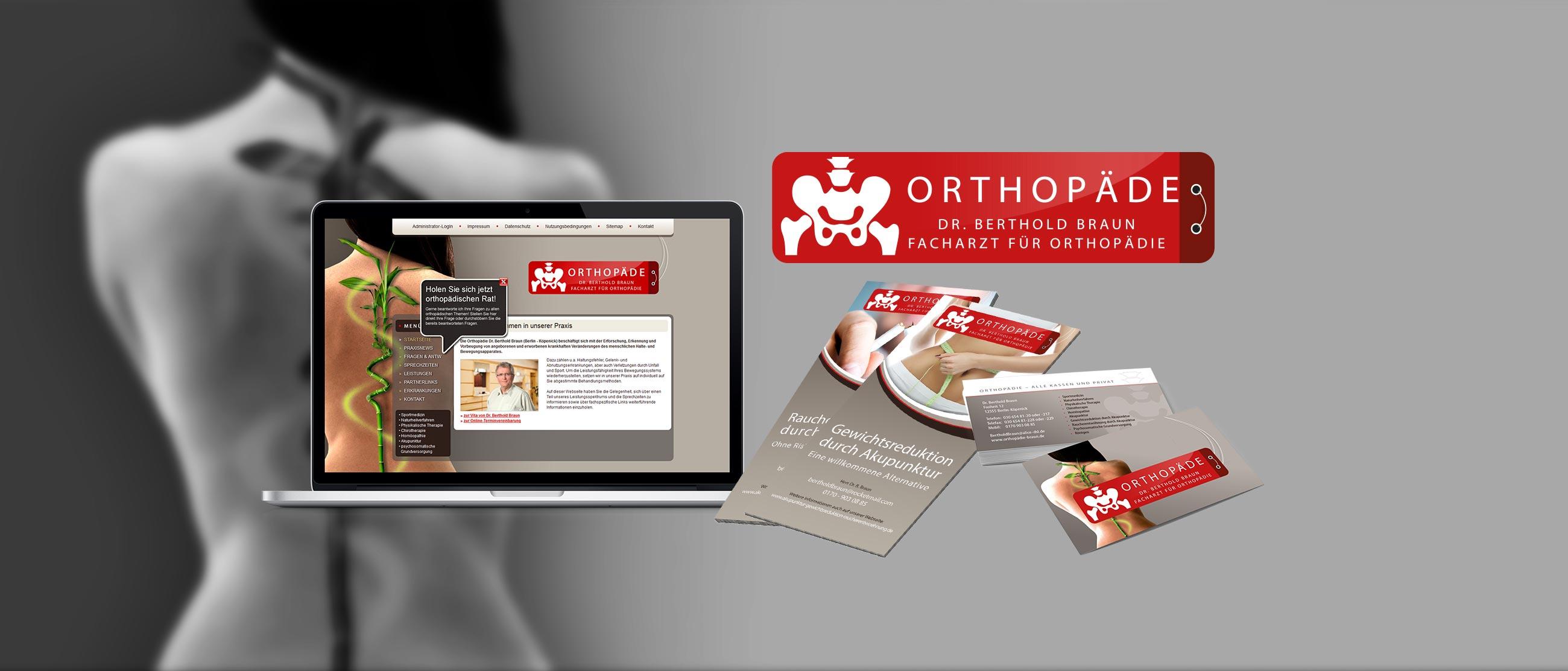 Orthopädie Dr. Berthold Braun: Erstellung eines Corporate Designs (Logo, Website, Flyer, Visitenkarten)