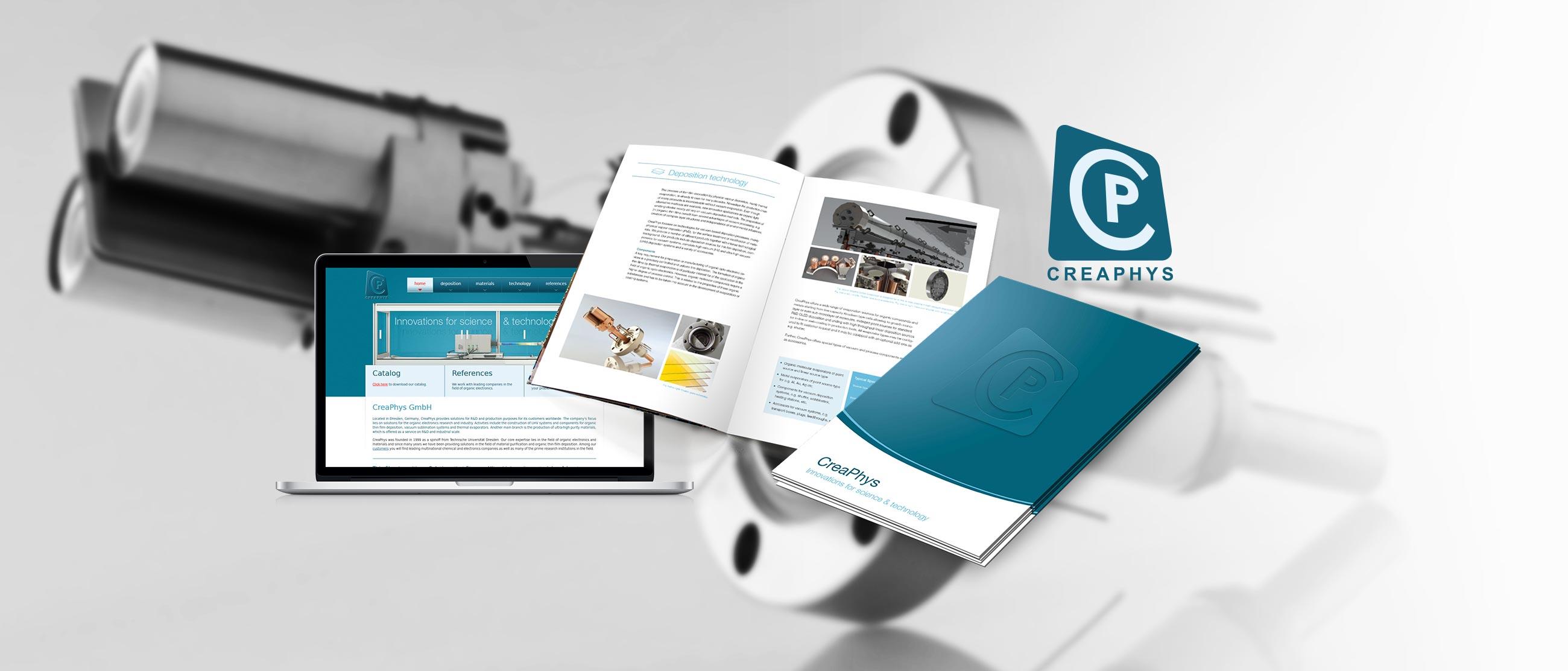 CreaPhys GmbH: Erstellung eines Corporate Designs (Logo, Website, Produktkatalog, Pressemappe, Visitenkarten, Roll-ups, Plakate)