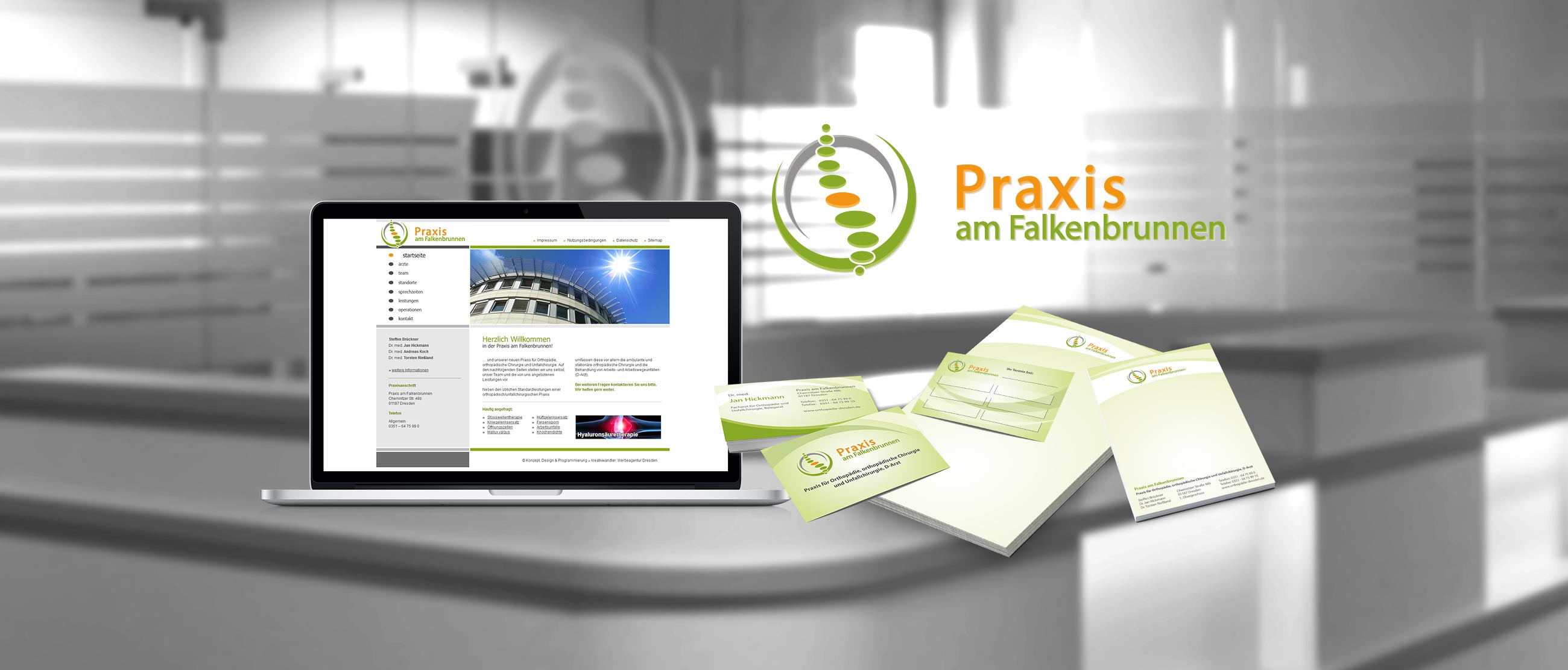 Orthopädische Praxis am Falkenbrunnen: Erstellung eines Corporate Designs (Logo, Website, Praxisgestaltung, Scheibenbeklebung, Leuchtreklame, Hinweisschilder, Plakate, Briefpapier, Visitenkarten, Notizblöcke)