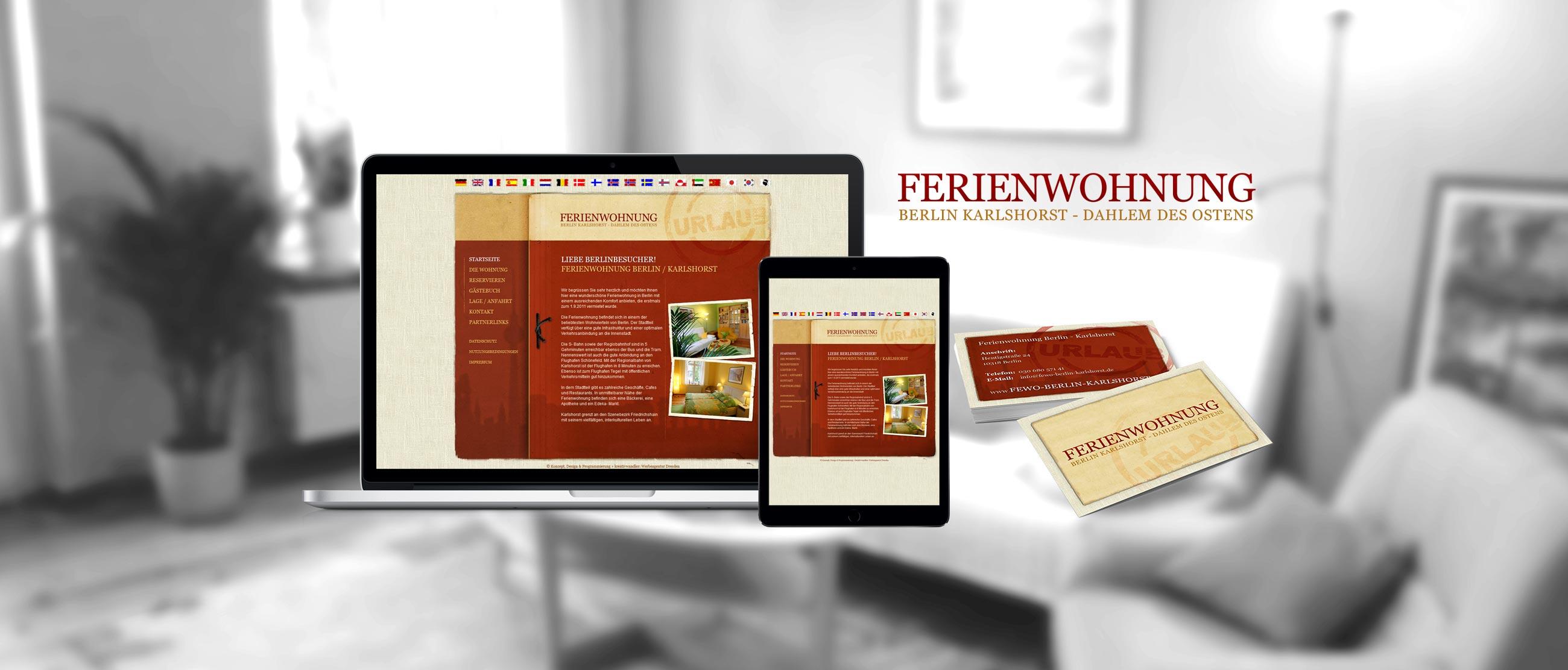 Ferienwohnung Karlshorst Berlin: Erstellung eines Corporate Designs (Logo, Website, Visitenkarten)