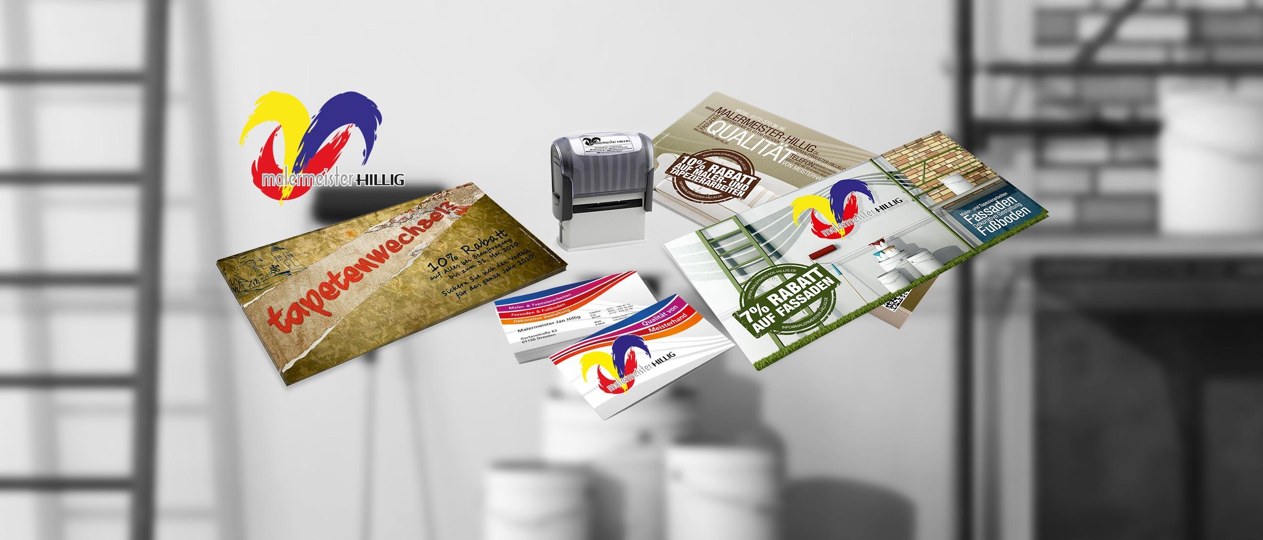Malermeister Hillig: Corporate Designs (Logo, Website, Autobeklebung, Flyer, Visitenkarten, Stempel)