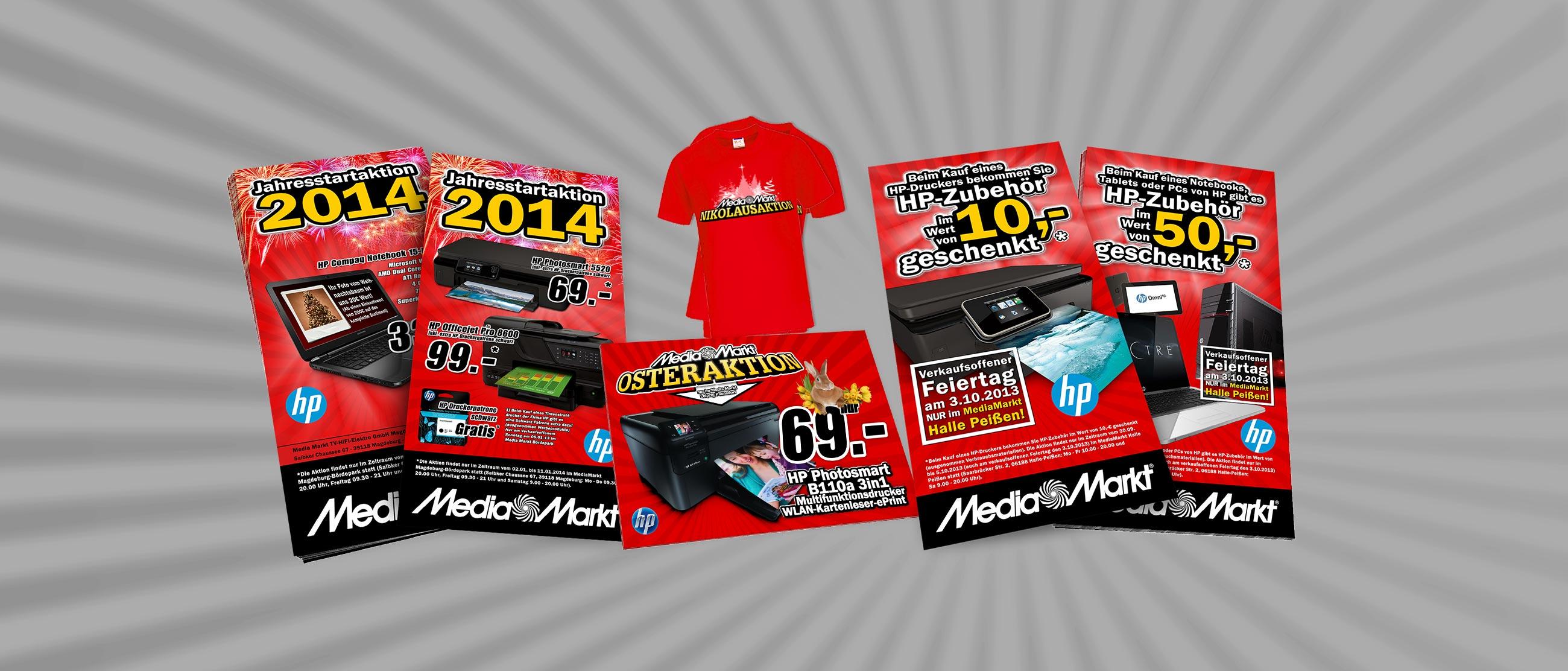 Media Markt: Gestaltung von Aktionsflyern und T-Shirts