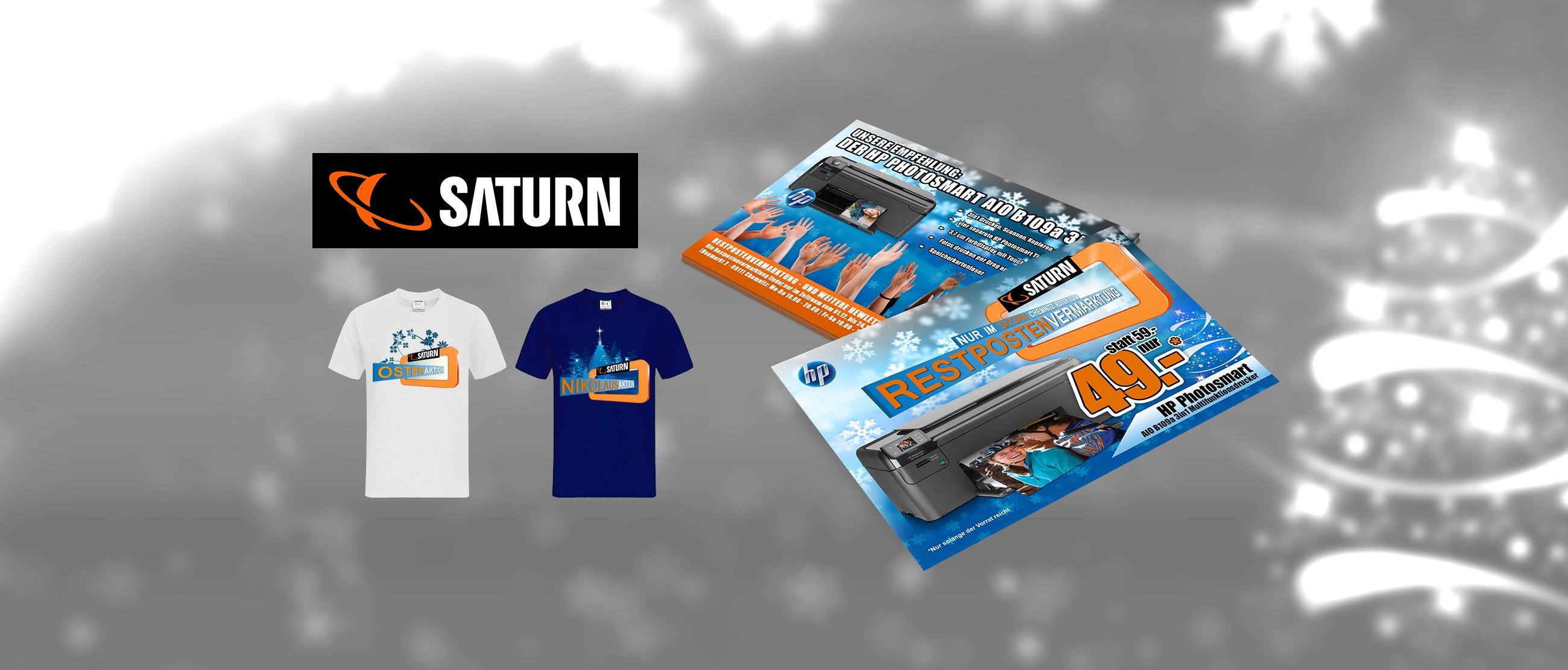 SATURN: Gestaltung von Aktionsflyern und T-Shirts
